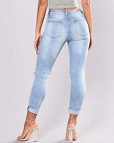 Skinny Bordado Azul Denim Lápiz Rotos Tejanos Mujer Delgado Pantalones Pantalones Claro ZhuiKun Vaqueros Boyfriend wtRx5pq