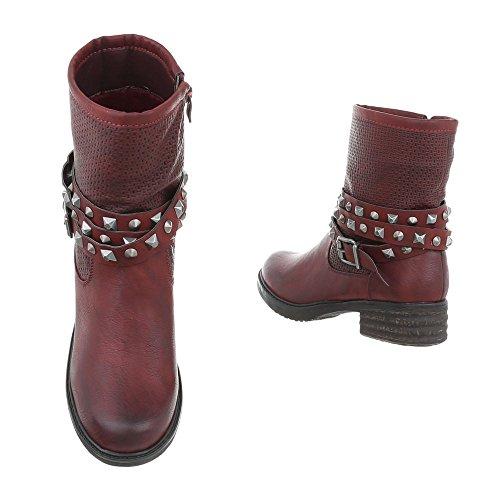 Design Bikerbottes Bloc Ital femme Chaussures bottines amp; Bottes Bourgogne et Western Fw1dnTZ