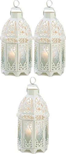 "[3 Moroccan 12"" Tall Candle Holder Lantern Light Terrace Outdoor Garden Patio] (Terrace 3 Light Pendant)"