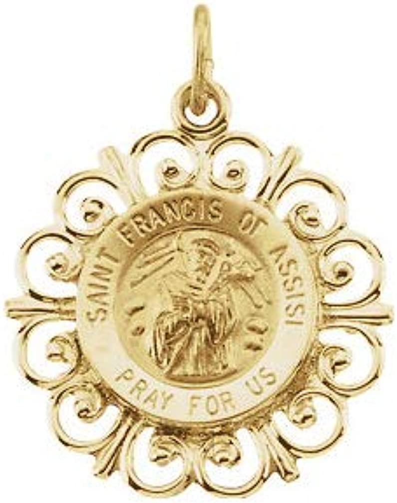 Francis of Assisi Medal 14K Yellow Gold 18mm St
