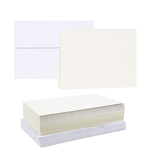 50-Piece A7 Envelopes and 50-Sheet Half-Fold Greeting Card Paper - 5.25 x 7.25 Inch Square Flap Envelopes - 5 x 7 Inch Greeting Card Paper, White