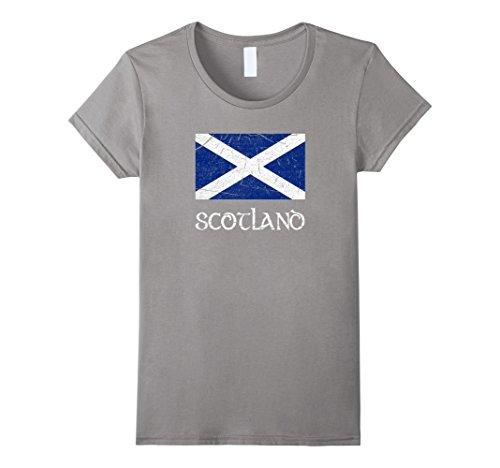 Womens Scottish Flag Scotland National Pride Distressed T-Shirt XL Slate