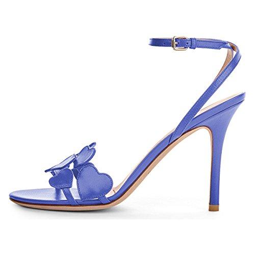 Women Blue 15 US Ankle Shoes Stiletto Heel Fashion Open Strap 4 Toe Heart Size FSJ Slingback Sandals High dTARdx