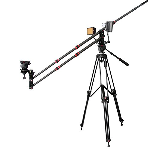 ASHANKS Camera Jib Crane 6.5ft/2m Mini Carbon Fiber Jib Arm With Counterweight Carrying Bag, Bowl for Tripod Head and Quick Release Plate by ASHANKS