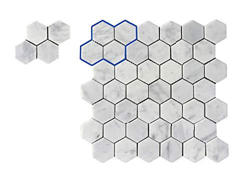 Italian Carrara White Sample Hexagon Honeycomb 2in Polished Carrera Marble Mosaic Tiles for Bathroom Kitchen Wall Floor Backspalsh Tiles by Li Decor