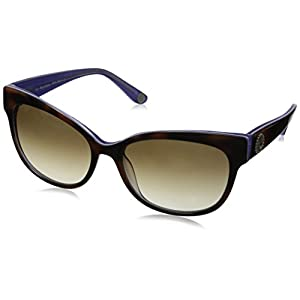 Juicy Couture Women's Ju577s Oval Sunglasses, Tortoise Violet Crystal/Brown Gradient, 57 mm