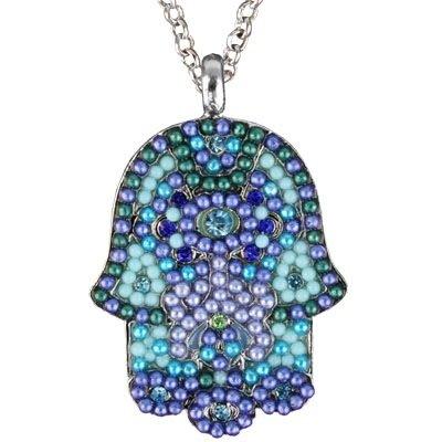 Large Hamsa Necklace & Chain <br>Multi Blues Crystals & (Large Hamsa Necklace)
