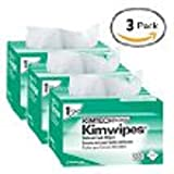 """Kimberly-Clark Kimtech Science Kimwipes Delicate Task Disposable Wiper, 8-25/64"""" Length x 4-25/64"""" Width, White (Pack of 3)"""