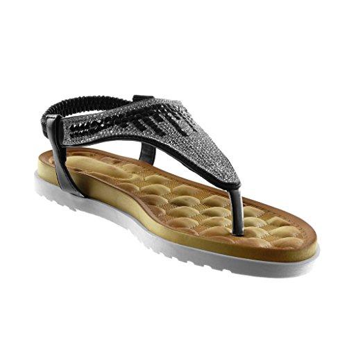 Negro Suela Tacón 5 Correa de Sandalias cm Chanclas Mujer Zapatillas Zapatillas Strass Plano Slip 2 on Angkorly Moda ZqATn1I