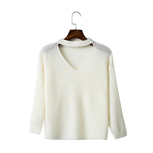 Color Women's White Solid QXH Knitting Sweaters Loose Collar sleeve V Long zxTZqxw7