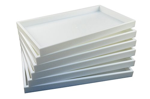 (Regal Pak ® 6-Piece 1-Inch Deep White Full Size Plastic Stackable Jewelry Tray 14 3/4