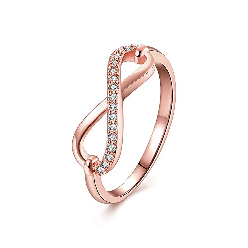 KOREA-JIAEN Bowknot Ring Rose Gold Plated AAA Level Cubic Zirconia Ring Love Infinity Ring for Gift (Triple Level)