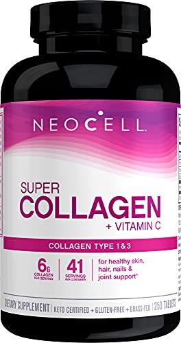 NeoCell Super Collagen with Vitamin C, 250 Collagen Pills, #1 Collagen Tablet Brand, Non-GMO, Grass Fed, Gluten Free…