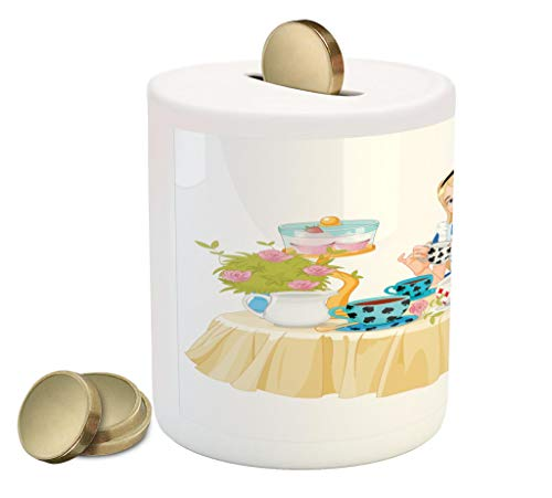 Lunarable Alice in Wonderland Piggy Bank, Alice Pours Cup of Tea with Cupcakes Flowers in Wonderland Fantasy, Printed Ceramic Coin Bank Money Box for Cash Saving, Multicolor]()