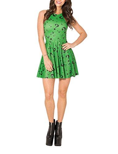 SOTW Fashion Summer Pleated Knee-length Reversible Spandex Skater Sun Dress for Women, The Riddler (Riddler Dress)