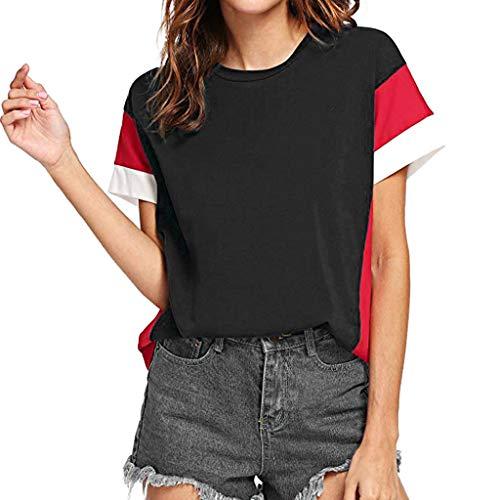 Keliay Bargain Tops,Women's Color Block Blouse Short Sleeve Casual Tee Shirts Tunic Tops Black
