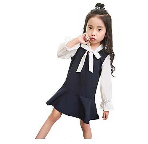 DL MYAN Big Girl Nautical Dress Long Sleeve Collar Sailor Dress With Bow-Tie (Navy Blue 4-5Year) (Dress Sailor Uniform)