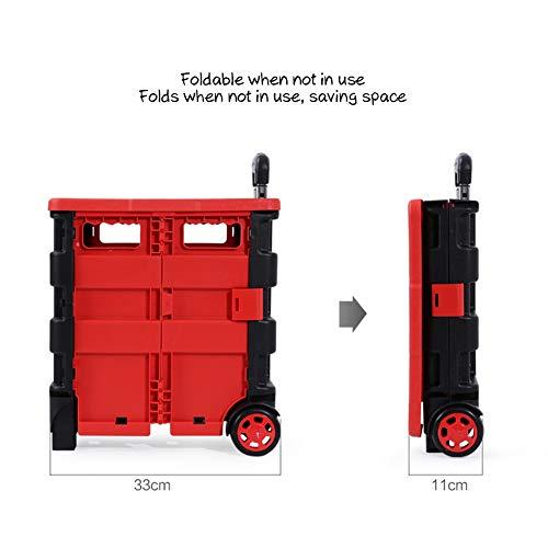 DCRYWRX Carro Black Asiento Resistente Carrito Ligero Plástico Compras Y Plegable Desmontable Mano con del Portátil Plegable Caja Red 7ZRrn7