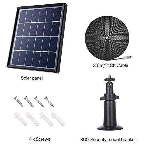 Solar Panel Compatible with Reolink Go, Reolink Argus 2, Reolink Argus Pro  (Camera not Included), Weather Resistant, 5 m/ 16 4 ft Power Cable and 360