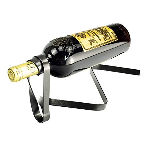 Y-Nut Suspended Ribbon Wine Bottle Holder, Decorative Single Bottle Stand Serving Display Wine Rack, Stylish Iron Wine Bottle Organizer Great for Wine Lovers, - Rack Wine Bottle Single