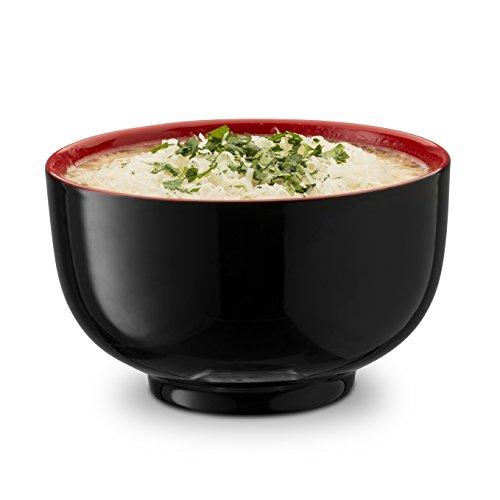 KooK Japanese Ceramic Noodle Bowl, Deep Interior, Black and Red, 38oz, Set of 4 by KooK (Image #2)