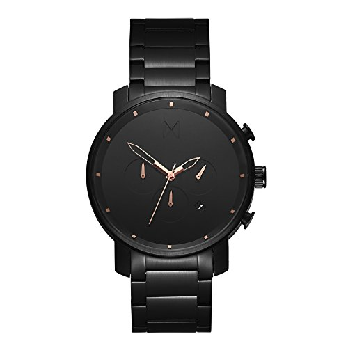 MVMT Chrono Watches | 45 MM Men's Analog Watch Chronograph | Black Rose Link ()