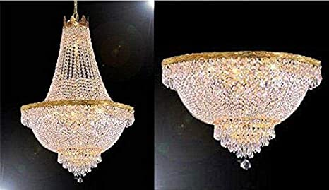 French Empire Crystal Chandelier Lighting H24 X W24 And Semi Flush Chandelier Lighting H18 X W24