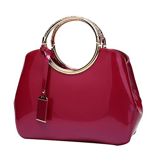 Female Patent Leather Bag Structured Dome Satchel Bag Zip Purple Multicolor