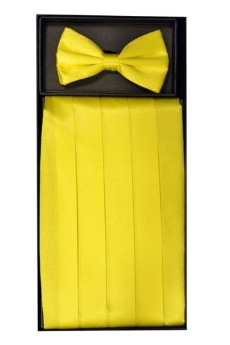 Classy Yellow SILK Cummerbund and Bow Tie Set with Box