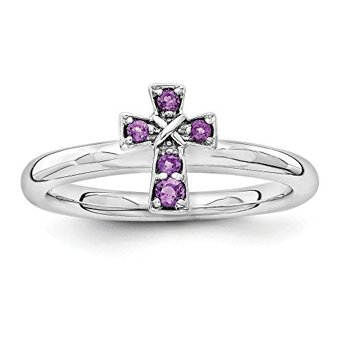 Rhodium Plated Sterling Silver Stackable Amethyst 9mm Cross Ring Sz 7