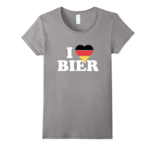 Flag Heart German (Women's I LOVE BIER German Flag Heart Pride Of Germany T-Shirt XL Slate)
