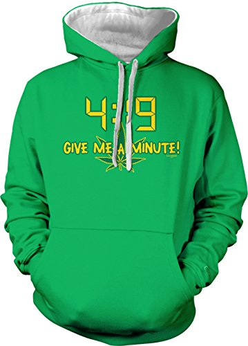 4:19 Give Me A Minute! Adult Two Tone Hoodie Sweatshirt (Kelly Green/White Strings, X-Small)