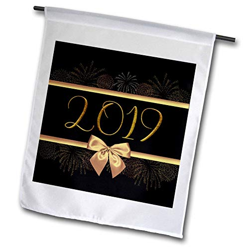 3dRose Beverly Turner New Years Design - Image of 2019, Gold Ribbons, Fireworks, and Bow Look, Black Background - 18 x 27 inch Garden Flag (fl_300606_2)