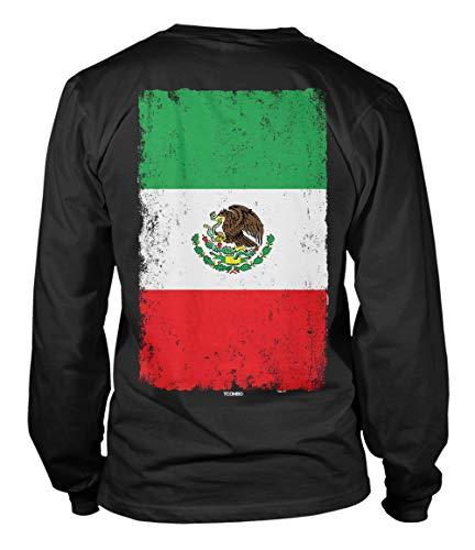 Distressed Mexico Flag - Mexican Eagle Latino Unisex Long Sleeve Shirt (Black - Back Print, Medium)