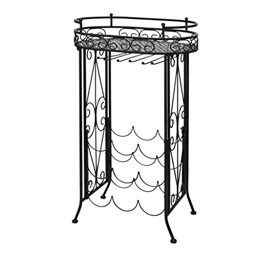 - Globe House Products GHP 9-Bottle Capacity Floor Standing Black Wrought Iron Wine Rack with Table Plate
