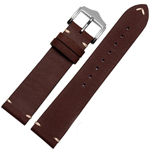 20mm/22mm Classic Vintage Leather Watch Band Strap Fits for Omega or Rolex 5513 1675 6542 1680 1803 Submariner GMT (20mm, Dark Brown)