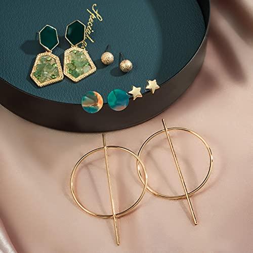 CHANBO 10 Pairs Female Star-shaped Spherical Pattern Acrylic Pendant Geometric Acetate Earrings