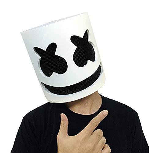 Uhoolee Top 10 DJs Marshmello, Helmet Music Festival Marshmallow Head Mask Novelty Costume Bar Full Head Mask Cosplay Costume Carnaval Halloween (No Light) -