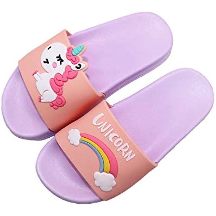 Girls Unicorn Slide Sandals Summer Lightweight Non-Slip Swim Shoes Slip on Water Pool Beach Shoes Slippers for Toddler/Little kids