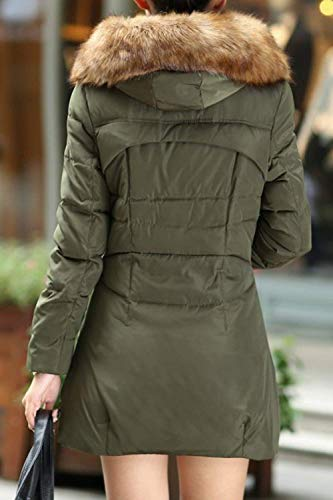 paissir Elgante Hiver Grande Vert Fashion Fit Femme Longues Capuchon Chaud Slim Coat Stepp Blouson Quilting Manches Hiver Chic Longues Parka Taille Chemine Mode Sx6qwfRAa