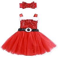 Christmas Dress Newborn Baby Girl Sequin Santa Claus Tutu Dress + Cute BowknotHeadband Skirt Set