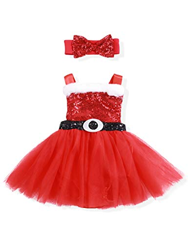 Christmas Outfits Newborn Baby Girl Rompers Santa Claus Tutu Dress + Cute Bowknot Headband Clothes Set(12-18 Months) for $<!--$13.99-->