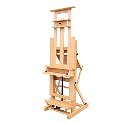Easel Nationwel@ Beech, Multifunction Adult Double-Sided Hand Crank Lifting Oil, Professional Large Commercial Teaching, Wood Color,with Universal Brake Wheel