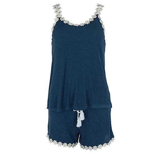 (PJ Couture Women's Daisy Lace Trim Tank and Shorts Pajama Set, XL, Blue)