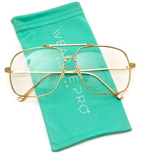 WearMe Pro -70's Style Clear Lens Non Prescription Metal ()