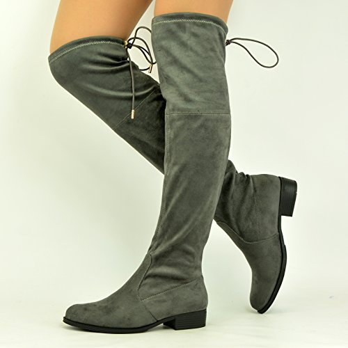 Grey Heel Low The New Boots Knee Over Ladies Uk Size Block Lace Back 8 Shoes Womens 3 q88CawFB