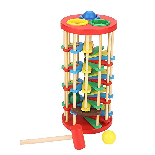 Garosa Pounding Toy Educational Knocking Ball Off Ladder Wooden Toys with Hammer Bright Color Early Education Toys for Toddlers Preschool Kids Children -