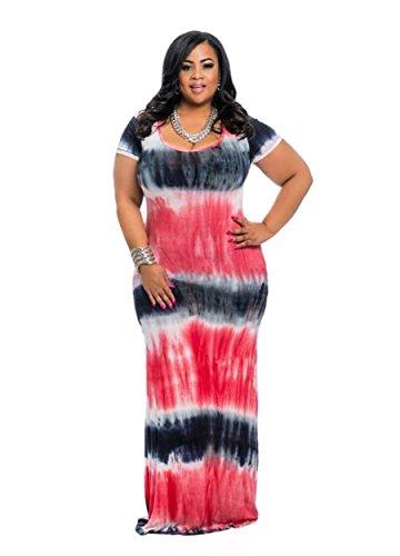 HPLY Women 2018 Short Sleeve Tie Dye Dresses Plus Size Loose Casual Maxi Long Dress Red/3XL