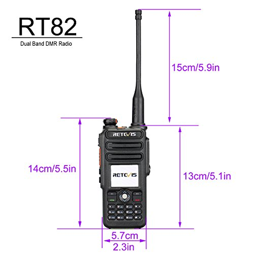 Retevis RT82 IP67 Waterproof Dual Band DMR Digital/Analog Two Way Radio 5W 136-174MHZ/400-480MHZ 3000 Channels 10000 Contacts Ham Amateur Radio with Record Function and Programming Cable by Retevis (Image #2)