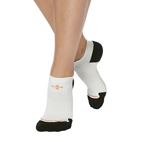 Tommie Copper Women's Athletic Light Weight Compression Ankle Socks, White/Black, Size 4-6.5